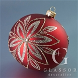 Christmas red ball with platinum decor