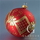 Christmas tree decoration - Ball red matt with gold decor - 10 cm