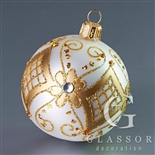 Ball for Christmas tree - white matt with gold decor - 6 cm