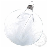 Transparent glass bauble with white feather